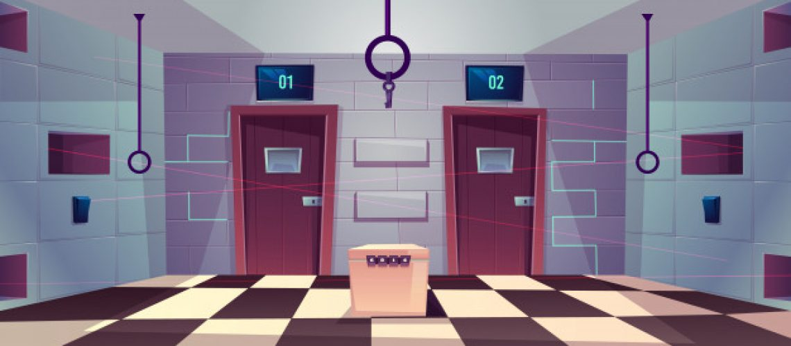 vector-cartoon-background-quest-room-with-closed-doors_33099-1202
