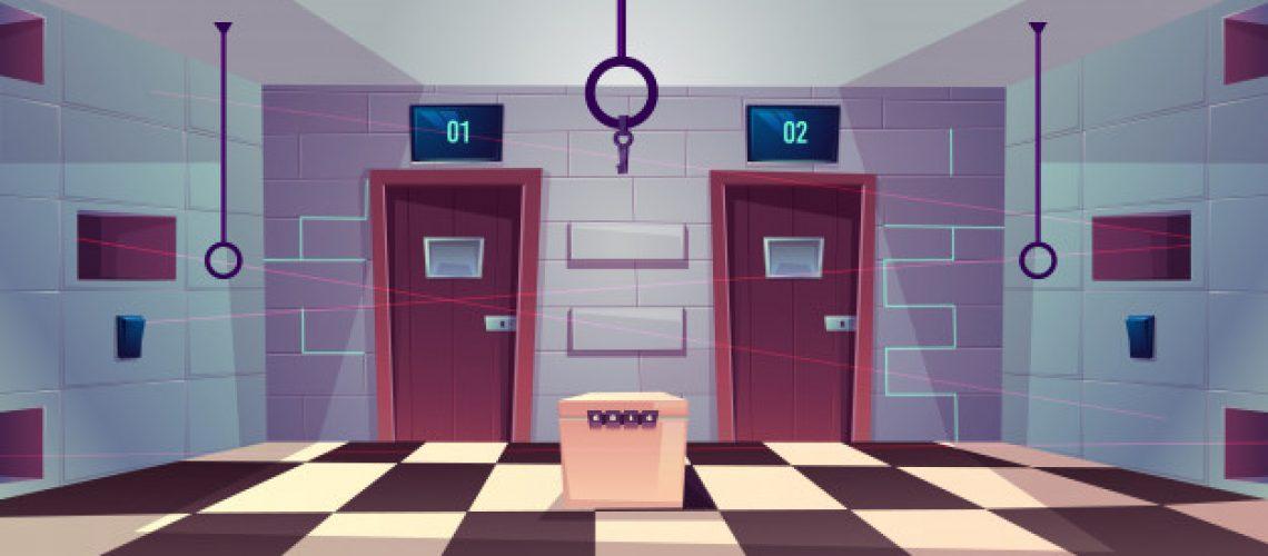 vector-cartoon-background-quest-room-with-closed-doors_33099-1202